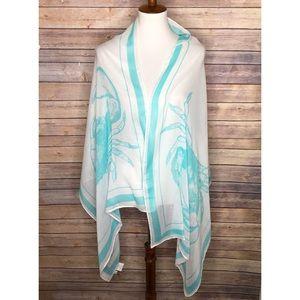 Mudpie Blue/white Crab design scarf/shawl 68 x 26
